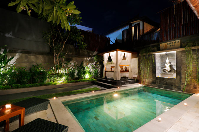 Duplex Pool Villa View Night - Sudha Villa Bali