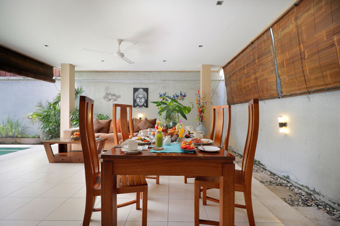 Two Bedroom Pool Villa Table Set Breakfist - Sudha Villa Bali